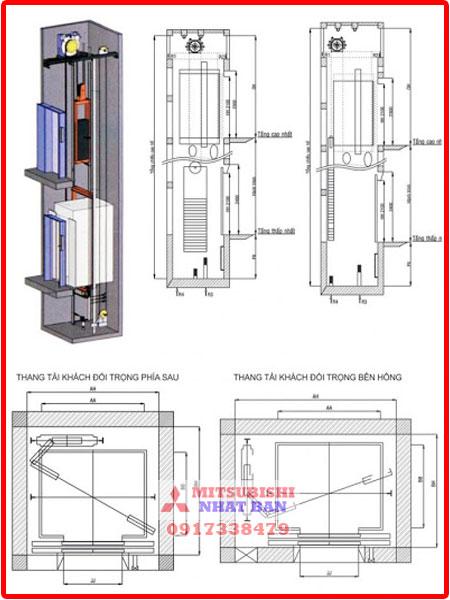 bản vẽ cad thang máy không phòng máy