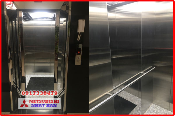 mẫu thang máy gia đình inox gương