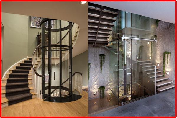 mẫu thang máy gia đình kính