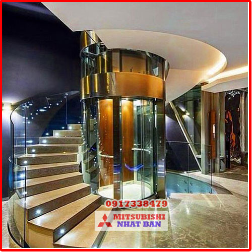 mẫu thang máy gia đình lồng kính đẹp