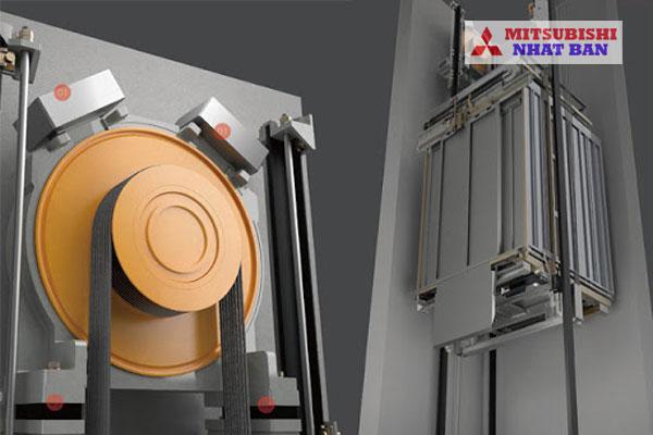 động cơ thang máy và hố thang