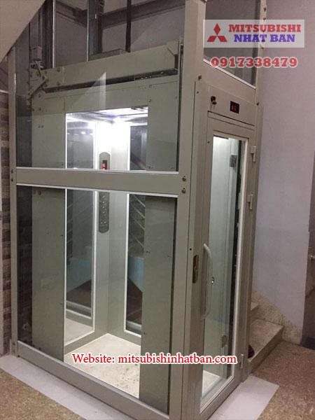 mẫu thang máy dùng khung thép