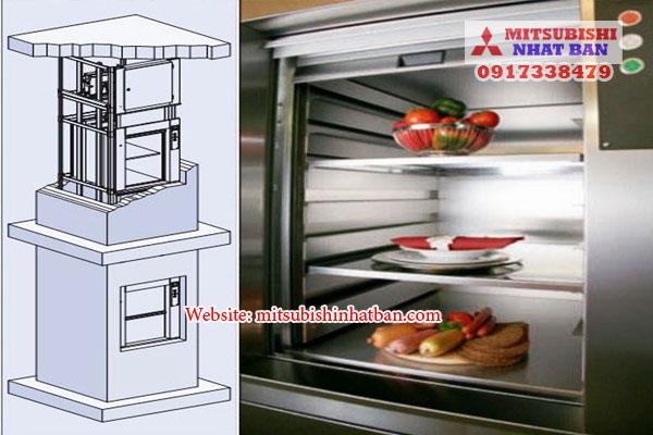 thang máy tải thức ăn 3 tầng cho nhà hàng