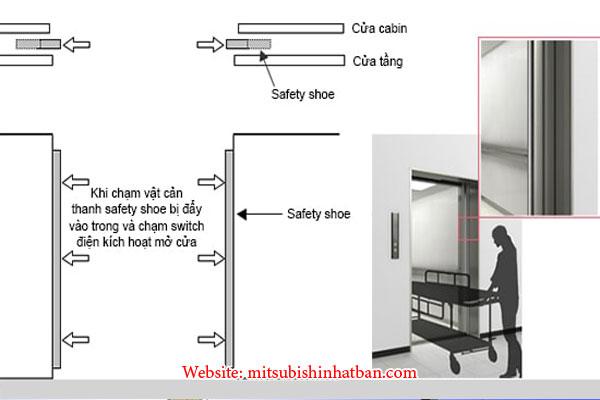 hệ thống chống kẹt cửa thang máy safety shoe