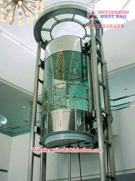 mẫu thang máy tròn sử dụng công nghệ thủy lực